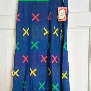 Vintages Children Blue Knit Skirt Sz Med